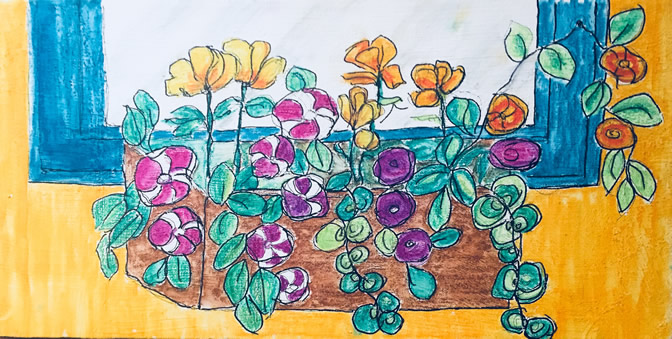 "Arlene Bozicnik ""Mom's Flowers"" - Mixed Media"