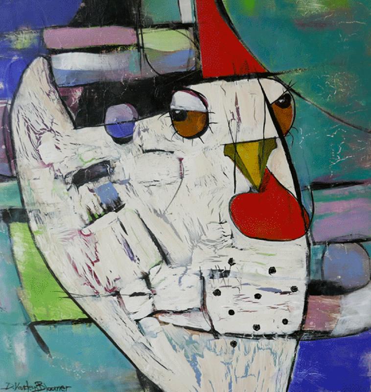 """Deborah Vanden Bloomer """"Retro Chicken"""" - Acrylic"""