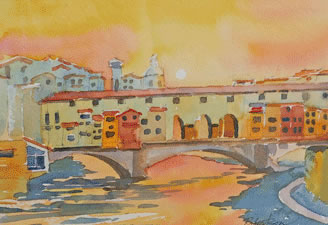 "Dennis Robertson ""PonteVecchio, Arno River"" - Watercolor"